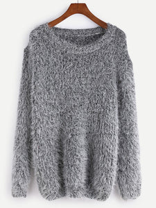 Fuzzy pullover fashion sweater