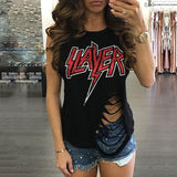 Slayer distressed cut up top - Iconic Trendz Boutique