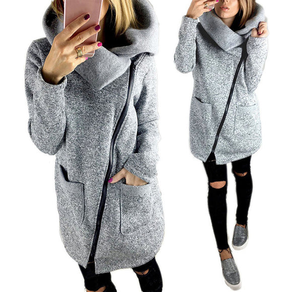 wrap turtle neck warm zipper jacket