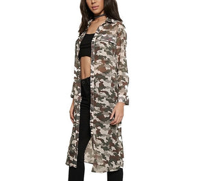 Ladies long camo retro fashion shirt - Iconic Trendz Boutique