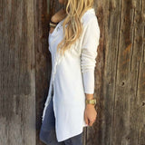 Fringe detail asymmetrical wrap sweater