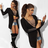 Leather patch sleeve open front cardigan jacket