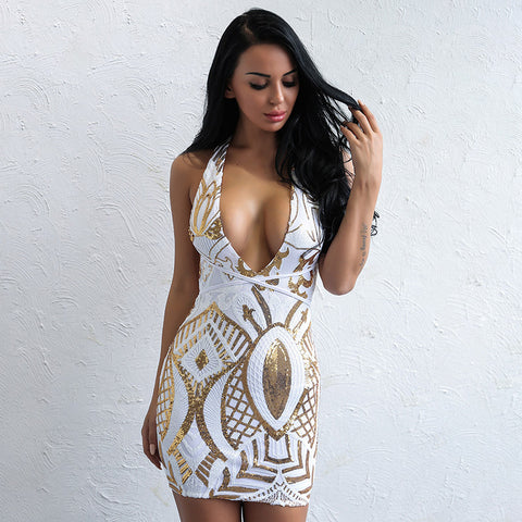 """Angelic"" Gold and white deep front strappy back bodycon dress"