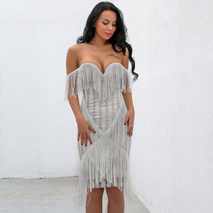 """Valence"" off the shoulder fringe detail couture party dress"