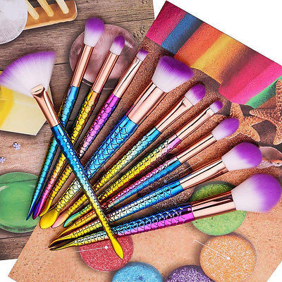 10pcs rainbow mermaid makeup brushes - Iconic Trendz Boutique