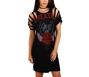 Breathe distressed retro tshirt dress - Iconic Trendz Boutique