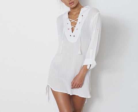 Classic lace up front loose fit shirt dress - Iconic Trendz Boutique