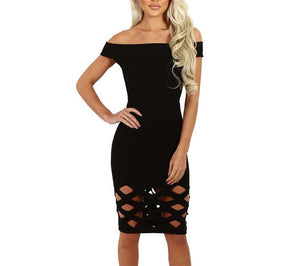 Off the shoulder caged detailed bodycon dress - Iconic Trendz Boutique