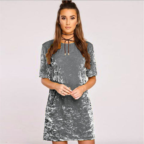 Velvet retro oversize tshirt dress - Iconic Trendz Boutique