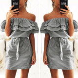 Ruffle off the shoulder mini tie day dress - Iconic Trendz Boutique