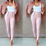Ladies button style high waisted pants - Iconic Trendz Boutique