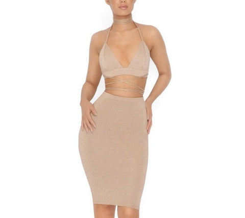 """Stay strapped"" 2 piece bodycon set - Iconic Trendz Boutique"