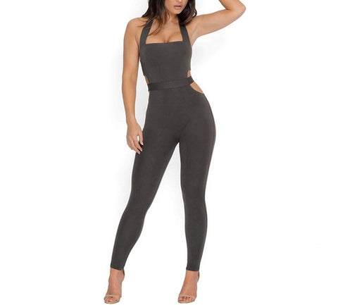 """Main attraction"" cutout bodycon jumpsuit - Iconic Trendz Boutique"