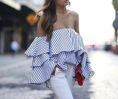 """Cali"" ruffle off the shoulder blouse - Iconic Trendz Boutique"