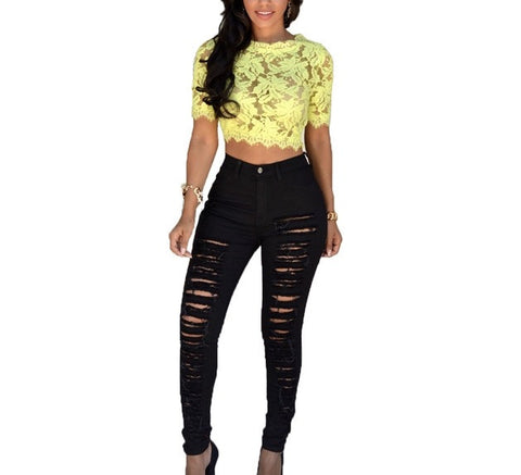 Distressed mid waist skinny jeans - Iconic Trendz Boutique