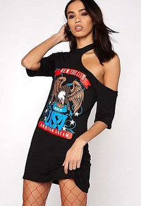 All a dream rocker distressed tshirt dress - Iconic Trendz Boutique