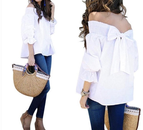 """Classic"" off the shoulder bow style back top - Iconic Trendz Boutique"