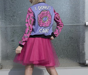 "Ladies ""I donut care"" 3D bomber jacket - Iconic Trendz Boutique"