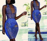 """Nunu"" shimmer sheer bodycon halter dress - Iconic Trendz Boutique"
