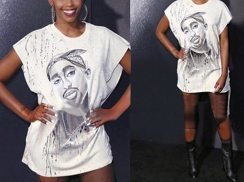 Tupac portrait retro distressed fashion tshirt top - Iconic Trendz Boutique
