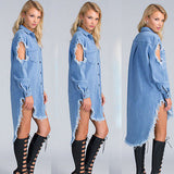 Denim distressed oversize shirt dress - Iconic Trendz Boutique