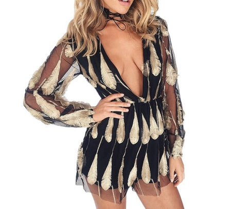"""Beautiful boho"" festive short romper jumpsuit - Iconic Trendz Boutique"