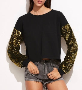 Sequins long sleeve pullover sweater top - Iconic Trendz Boutique