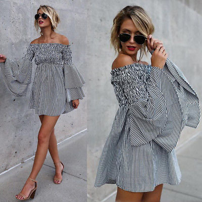"""Blogger"" off the shoulder ruffle mini dress - Iconic Trendz Boutique"