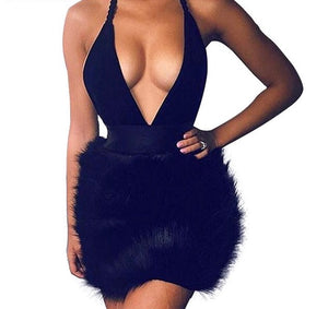 """London"" fur detail halter dress - Iconic Trendz Boutique"