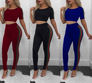 Luxury 2 piece side stripe crop top pants set
