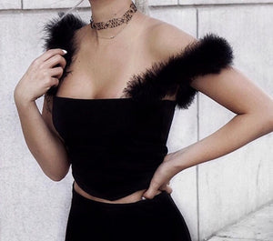 """Paris"" fur straps fashion crop top - Iconic Trendz Boutique"