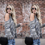 Casual Camo loose fit cold shoulder loose blouse - Iconic Trendz Boutique