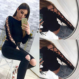 """Lily"" Lace up long sleeve top - Iconic Trendz Boutique"