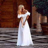 """Beautiful desire"" white off the shoulder maxi cocktail dress - Iconic Trendz Boutique"