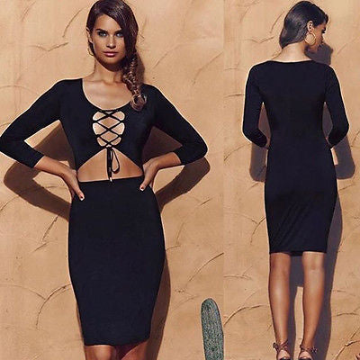 The Cage lace up little black dress - Iconic Trendz Boutique