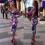 Ladies floral off the shoulder bodycon midi dress - Iconic Trendz Boutique