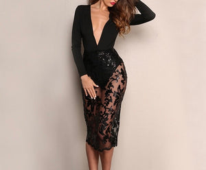 Sexy sheer lace deep v bodycon dress - Iconic Trendz Boutique