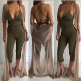 Ladies strappy back bodycon jumpsuit romper - Iconic Trendz Boutique