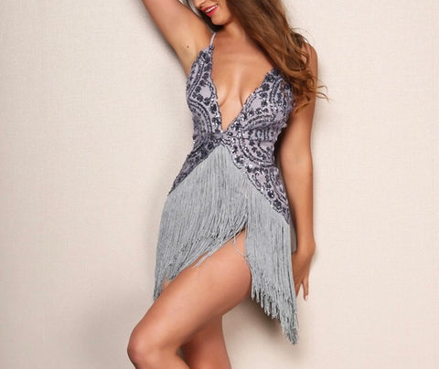 """Dance the night away"" fringe tassel mini dress - Iconic Trendz Boutique"