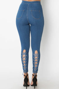 Denim lace up back high waist skinny jeans - Iconic Trendz Boutique