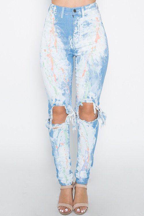Festive paint bleach cutout high rise jeans - Iconic Trendz Boutique