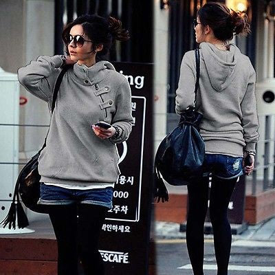 Ladies trendy warm high neck pullover sweater  hoodie - Iconic Trendz Boutique