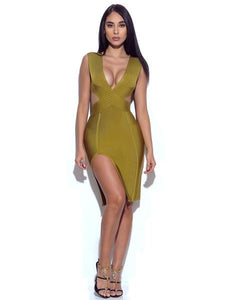 """Trust"" deep v side split bandage dress - Iconic Trendz Boutique"