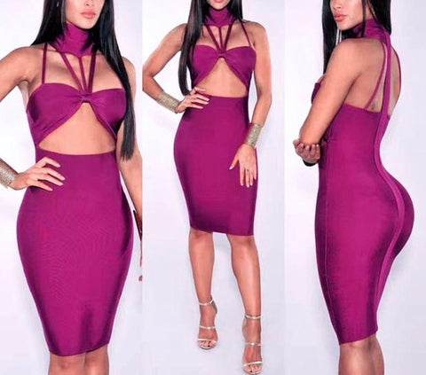 Sexy cutout choker neck bandage dress - Iconic Trendz Boutique