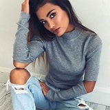 Cutout elbow patch sweater top - Iconic Trendz Boutique