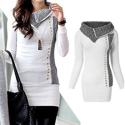 Trendy warm fold neck long sweater top - Iconic Trendz Boutique