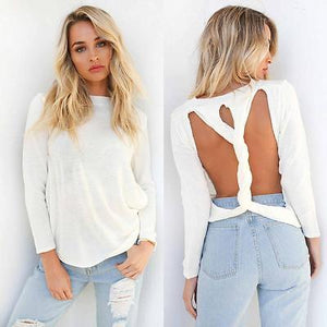 twirl cutout back sweater top - Iconic Trendz Boutique