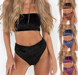 Sexy velvet 2 piece bikini swimsuit set - Iconic Trendz Boutique
