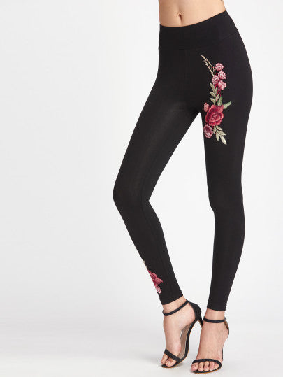 Rose embroidery detail fashion leggings - Iconic Trendz Boutique