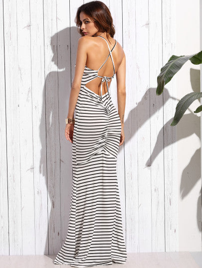 Sexy Stripe cross back long maxi dress - Iconic Trendz Boutique